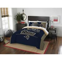The Northwest Co NFL Los Angeles Rams Draft Blue and Tan Polyester Full/Queen 3-piece Comforter Set