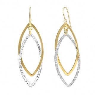 Fremada 14k Two-tone Gold Overlapping Marquise Dangle Earrings