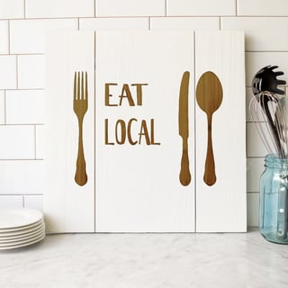 'Eat Local' White Wooden Rustic Wall Art