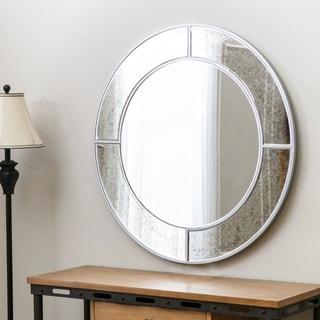 Abbyson Penelope Round Wall Mirror - Silver