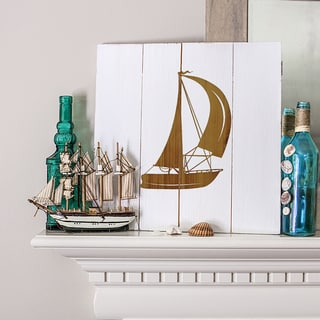 Rustic Sailboat White Wooden Wall Art