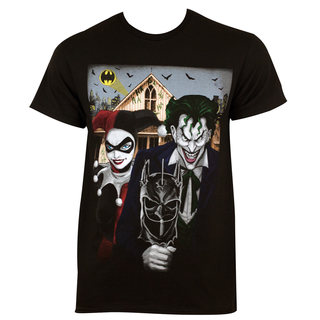 Men's Harley Quinn The Joker American Gothic Black Cotton T-shirt