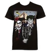 Men's Harley Quinn The Joker American Gothic Black Cotton T-shirt
