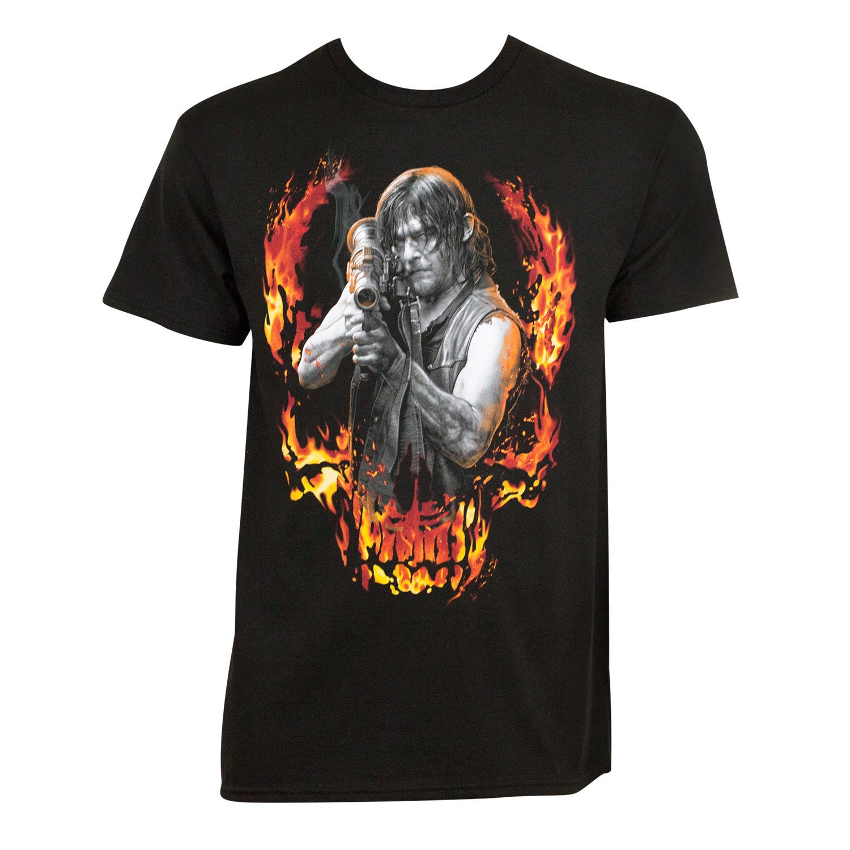 Walking Dead Bazooka Daryl Tee Shirt (Medium), Men's, Bla...