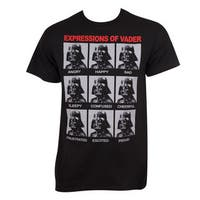 Men's Black Cotton Star Wars Expressions Of Darth Vader T-shirt