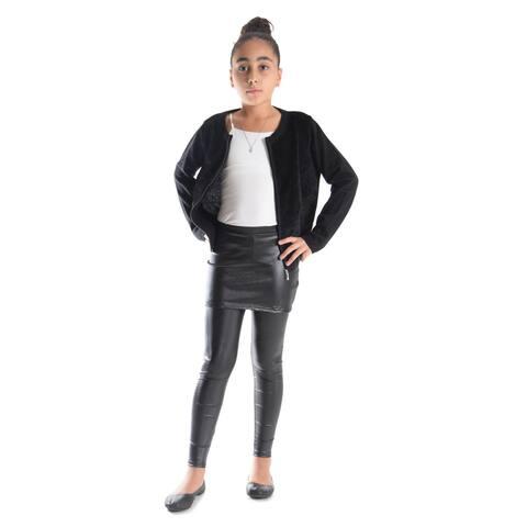 Girls' Shiny Metallic Elastic Skirted Leggings
