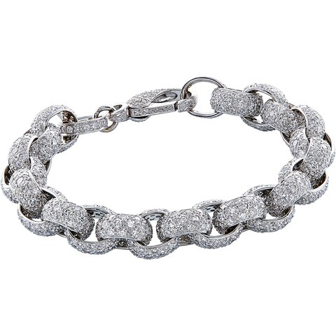 18K White Gold 25ct TDW Pave Diamond Chain Bracelet (H-I, VS1-VS2)