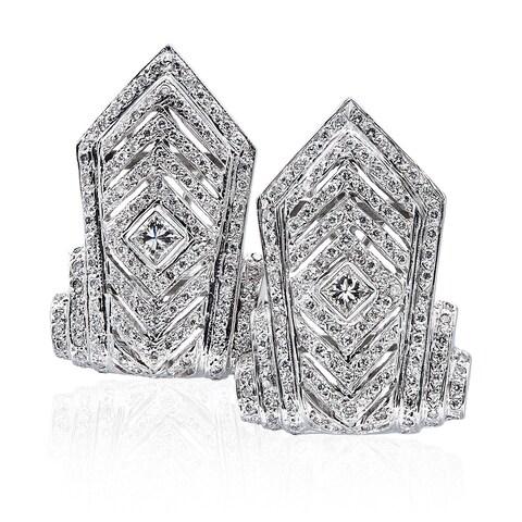 14k White Gold 3ct TDW Tall Chevron Pave Diamond Earrings (H-I, SI1-SI2)