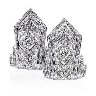 14k White Gold 3ct TDW Tall Chevron Pave Diamond Earrings (H-I, SI1-SI2)|https://ak1.ostkcdn.com/images/products/13260886/P19973200.jpg?impolicy=medium