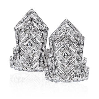 14k White Gold 3ct TDW Tall Chevron Pave Diamond Earrings (H-I, SI1-SI2)