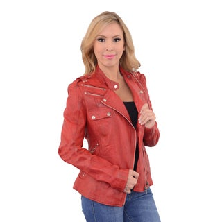 Women's Red Leather Double Zipper Asymmetrical Moto Jacket