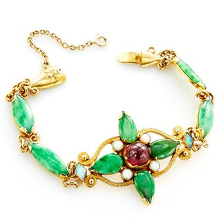 22k Yellow Gold Antique Jade Bracelet