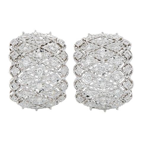 18k White Gold 2ct TDW Diamond Huggie Filigree Estate Earrings (H-I, SI1-SI2)