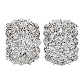 18k White Gold 2ct TDW Diamond Huggie Filigree Estate Earrings (H-I, SI1-SI2)