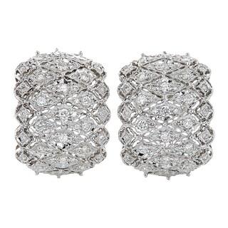 18k White Gold 2ct TDW Diamond Filigree Estate Earrings (H-I, SI1-SI2)