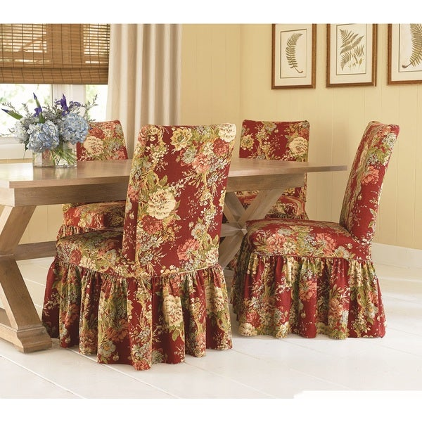 Waverly Garden Room Dining Chair Covers shop sure fit waverly ballad bouquet dining room chair slipcover