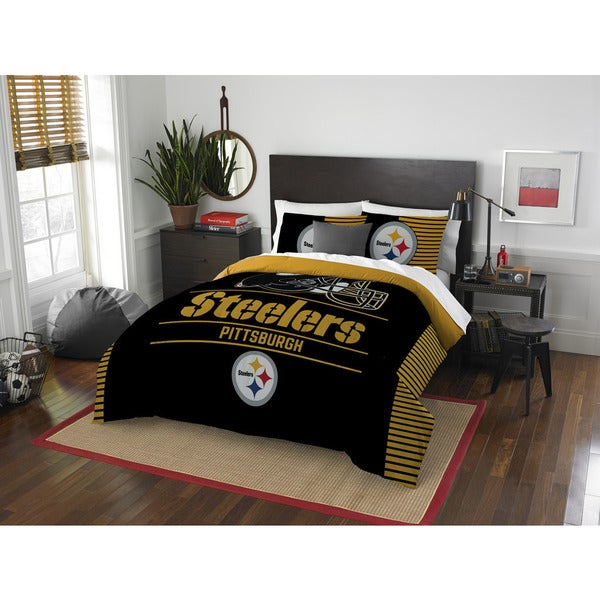 The Northwest Co NFL Pittsburgh Steelers Draft Full/Queen 3-piece Comforter Set