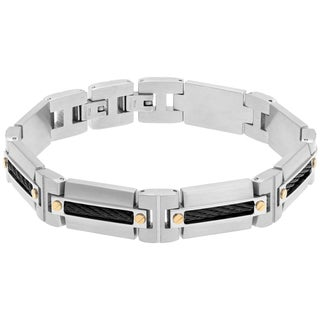 Stainless Steel Men's Cable Inlay Multitone Link Bracelet