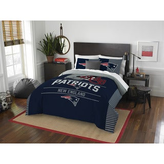 The Northwest Co NFL New England Partiots Draft Blue/Red Full/Queen 3-piece Comforter Set