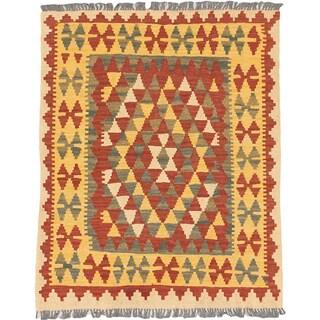 eCarpetGallery Ankara Orange/ Yellow Wool Kilim Rug (3'1 x 3'9)