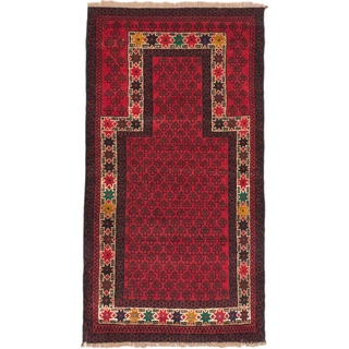 eCarpetGallery Baluch Red Wool Rug (2'10 x 5'2)