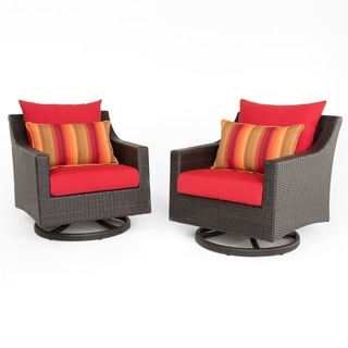 Deco Set of 2 Sunset Red Motion Swivel Club Chairs by RST Brands