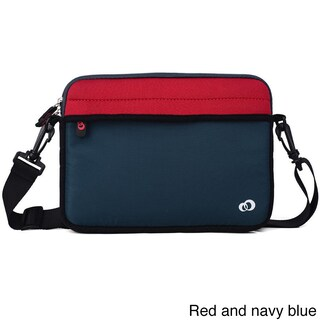 KroO 9-Inch Tablet Neoprene Messenger Bag Sleeve with Front and Rear Pockets, Includes Removeable Shoulder Straps (Option: Blue/Red)