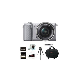 Sony Alpha a5000 SLR Camera and 32GB SDHC & Battery Accessory Bundle (Silver)