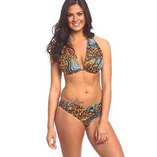 Women's Animal Swirl Twist Front Bikini Bottom