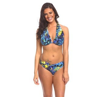 Twist Front Bottom Blue and Yellow Animal Bikini