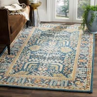 Safavieh Antiquity Traditional Handmade Dark Blue/ Multi Wool Rug - 4' x 6'