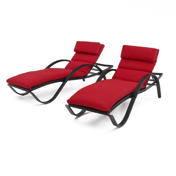 RST Brands Deco Chaise Lounges with Red Cushions
