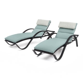 RST Brands Deco Chaise Lounges with Spa Blue Cushions