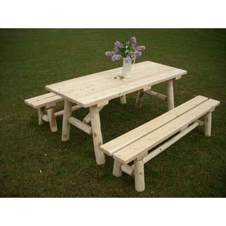 White Cedar Log 8 Foot Traditional Picnic Table with Detached Benches