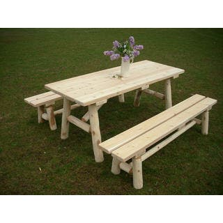 White Cedar Log 8 Foot Traditional Picnic Table with Detached Benches|https://ak1.ostkcdn.com/images/products/13261311/P19973557.jpg?impolicy=medium