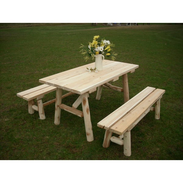 Nice White Cedar Log 8 Foot Traditional Picnic Table With Detached Benches    Free Shipping Today   Overstock.com   19973557