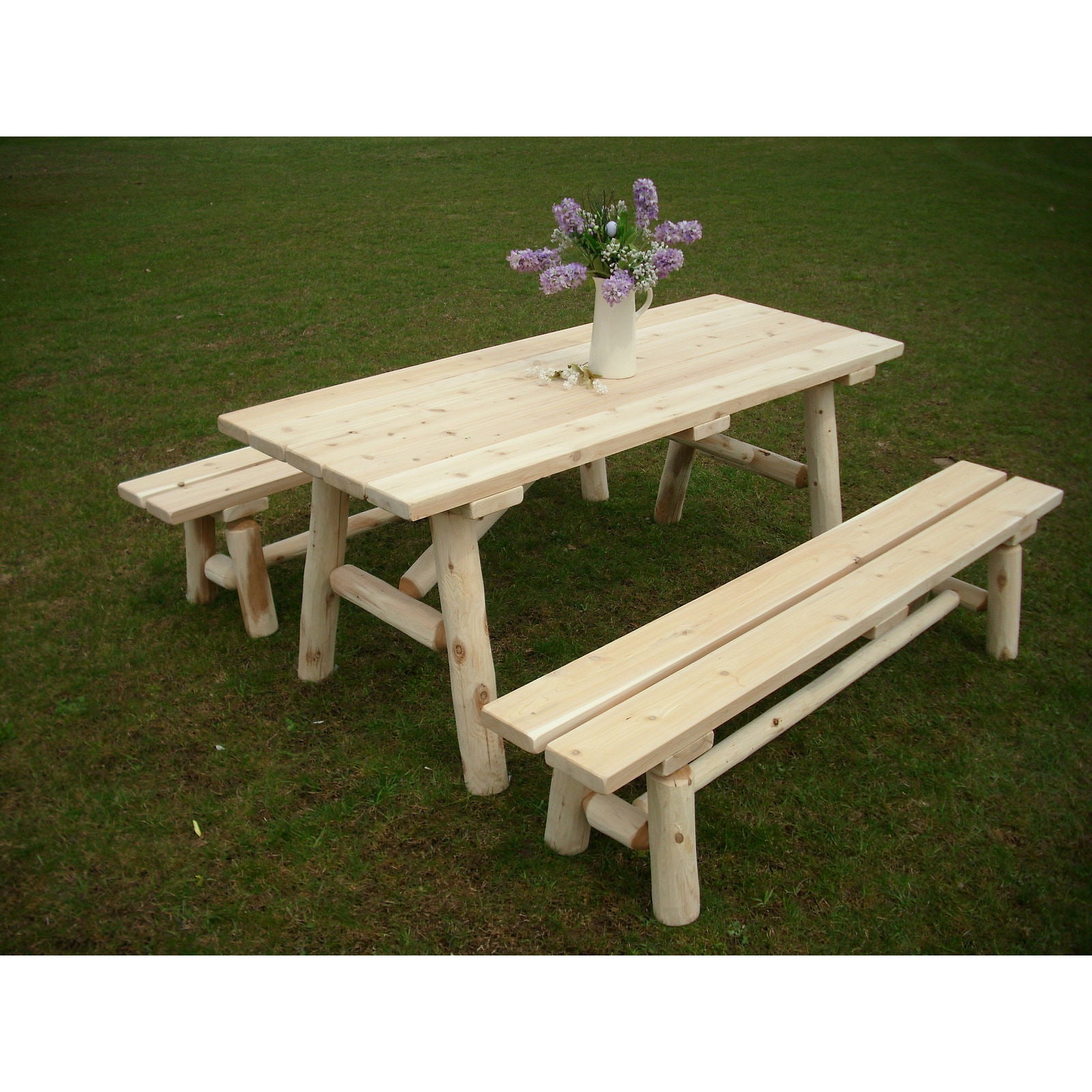 Amazing White Cedar Log 8 Foot Traditional Picnic Table With Detached Benches Customarchery Wood Chair Design Ideas Customarcherynet