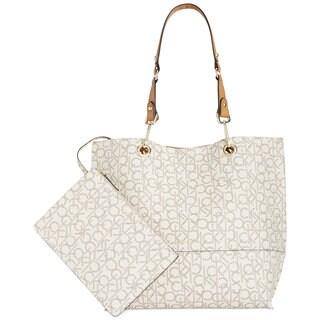 Calvin Klein Signature Almond/Khaki/Cashew Reversible Tote Bag