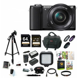Sony Alpha a5000 Mirrorless Digital Camera with 16-50mm Lens (Black) with 64GB Card Bundle