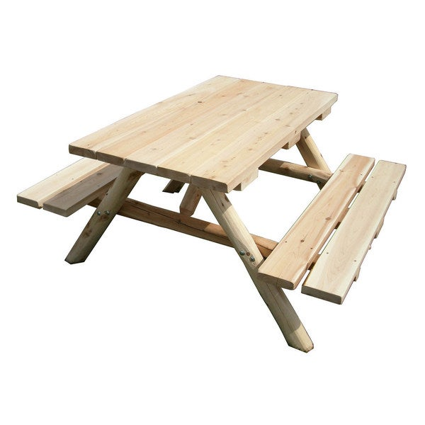 Unfinished White Cedar Log Picnic Table With Attached Benches Free Shipping Today 13261323