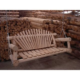 White Cedar Log Rustic 7 Foot Porch Swing