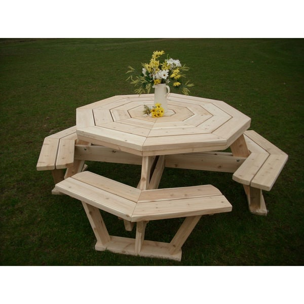 Shop White Cedar Octagon Walk In Picnic Table Unfinished On - Octagon picnic table for sale