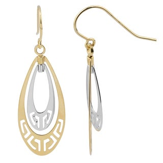 Fremada 14k Two-tone Gold Greek Key Teardrop Dangle Earrings