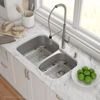 Kraus KBU24E Outlast MicroShield Undermount 32-in 16G 55/45 2-Bowl Stainless Steel Kitchen Sink, Grids, Strainers, Towel