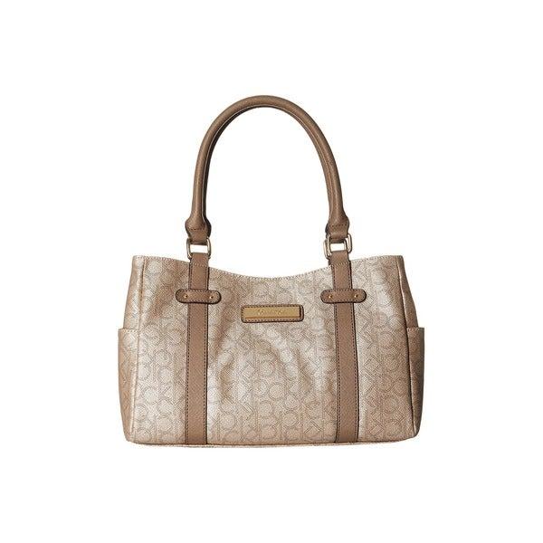 Calvin Klein Hudson Champagne Metallic Taupe Dark Satchel Handbag