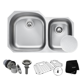 "KRAUS Outlast MicroShield Scratch-Resist Stainless Steel Undermount 60/40 Double Bowl Sink, 32"" 16 Gauge, Premier Series"
