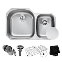 Kraus KBU23E Outlast MicroShield Undermount 32-in 16G 60/40 2-Bowl Stainless Steel Kitchen Sink, Grids, Strainers, Towel