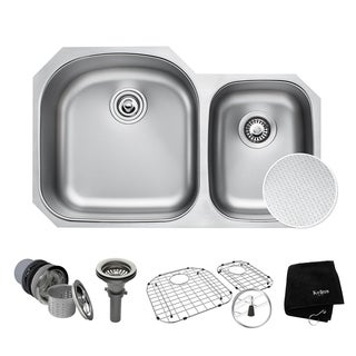 "KRAUS Outlast MicroShield Scratch-Resist Stainless Steel Undermount 60/40 Double Bowl Sink, 32"" 16 Gauge, Premier Series"