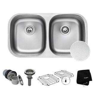 Kraus KBU22E Undermount 32 inch 2-Bowl Stainless Steel Kitchen Sink