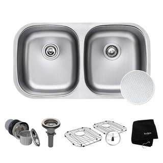 "KRAUS Outlast MicroShield Scratch-Resist Stainless Steel Undermount 50/50 Double Bowl Sink, 32"" 16 Gauge, Premier Series"